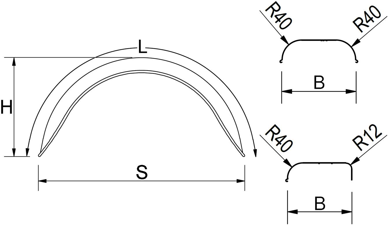 Kotflügel, einachsig, Blech, Ausführung rund, passend für alle gängigen Anhängertypen
