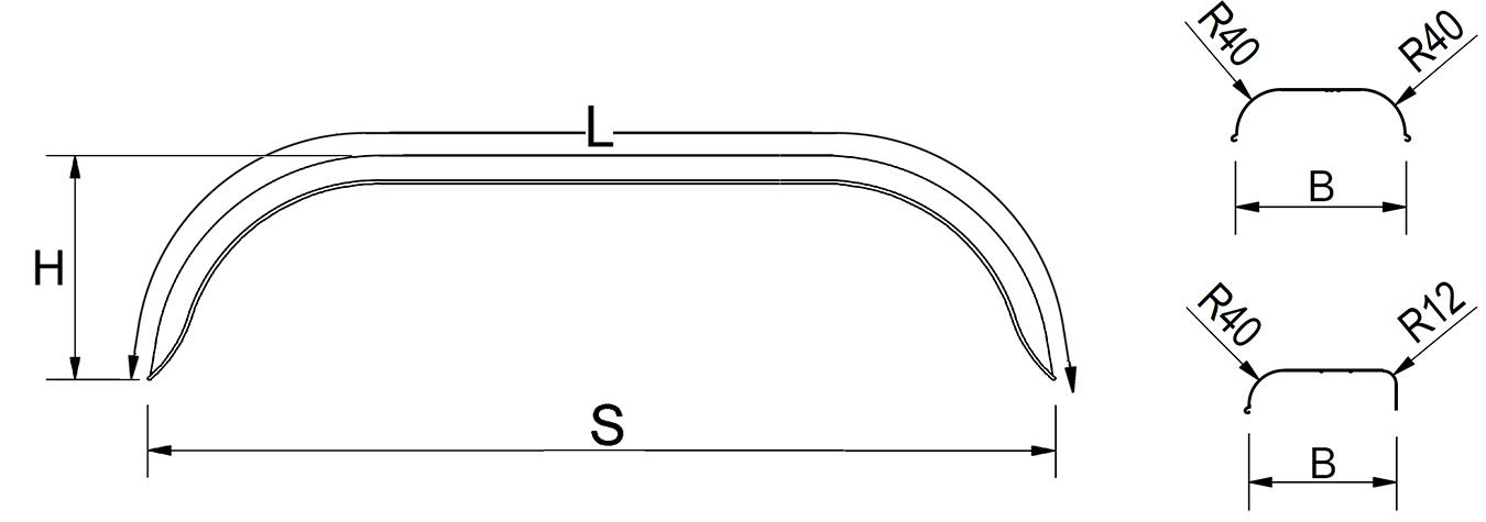 Kotflügel, Tandem, Blech, Ausführung rund, passend für alle gängigen Anhängertypen
