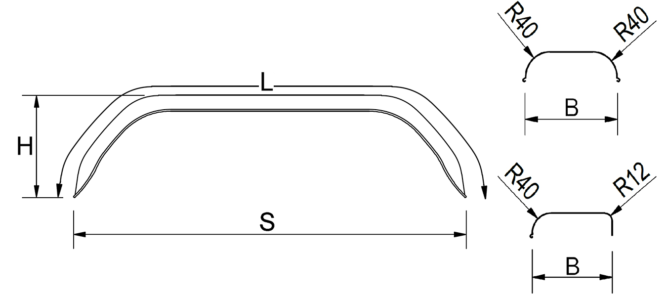 Mudguards, tandem axle trailer, sheet metal, vers. square, suitable for all common trailer types